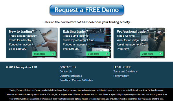 Old homepage CTAs on Tradeguider website before HubSpot CMS build