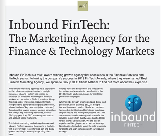 Wealth and Finance magazine - FinTech Awards
