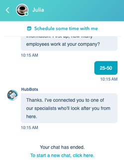 HubSpot Marketing Hub Enterprise | Chatbot Feature