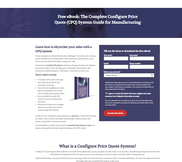 HubSpot landing page for CPQ ebook